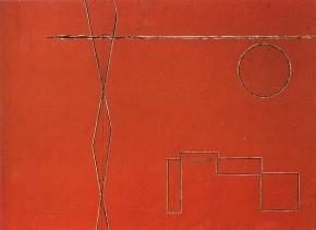 Licini, Scherzo (schemi astratti su fondo rosso), 1933
