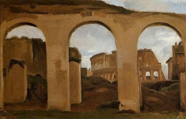 Corot, Il Colosseo visto dagli archi di Costantino, 1825