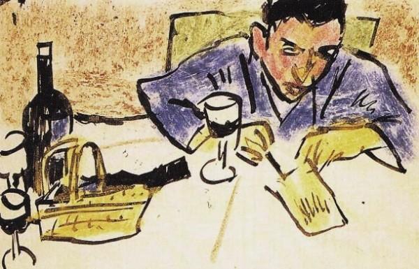 Pechstein, Uomo che scrive una cartolina, 1913