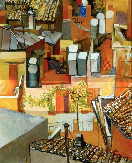 Guttuso, I tetti di via Leonina con rampicante, 1962