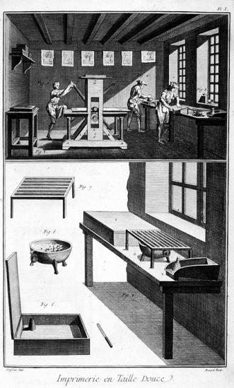 Imprimerie en taille douce, in Encyclopédie