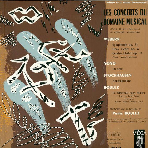 Les Concerts du Domaine musical, dir. Pierre Boulez, 1956, copertina di André Masson