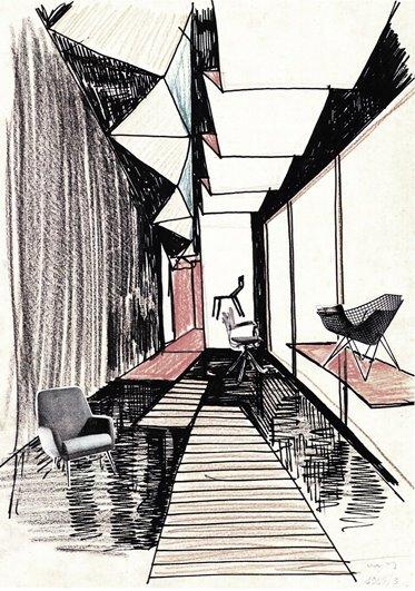 Ico Parisi, Progetto per la I mostra dell'arredamento, Como, 1945