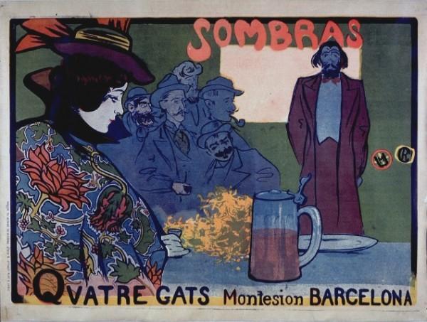Casas e Utrillo, Affiche per Els Quatre Gats, 1898
