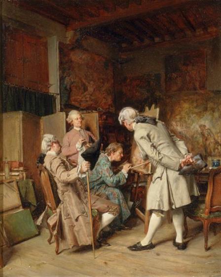 Meissonier, Les amateurs de peinture (dans le goût du 18ème siècle), 1860