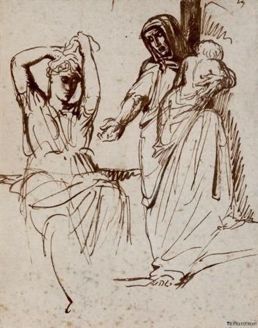 Chassériau, Études de femme relevant sa chevelure et demendiante tenant un enfant