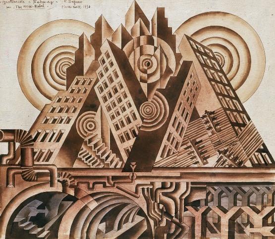 Depero, Grattacieli e subway, 1930