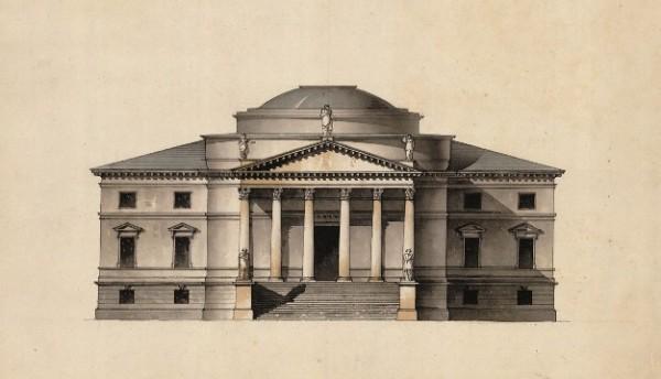 Giacomo Quarenghi, Progetto per il Mausoleo del principe Volkonskij a Suchanovo, prospetto principale, c. 1812-1813