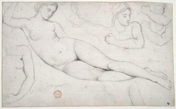 Ingres, Femme nue couchée et études de têtes et de bras