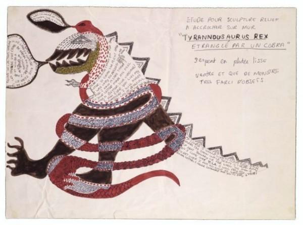 Niki de Saint Phalle, Tyrannousaurus Rex etranglé par un cobra, c. 1963