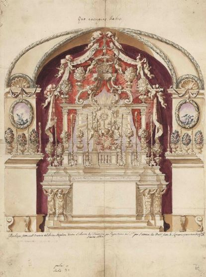 Giacomo Amato e Antonino Grano, Disegno per altare, fine sec. XVII