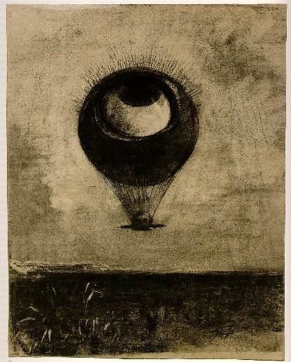 Redon, L'oeil, comme un ballon bizarre, se dirige vers l'infini, 1882