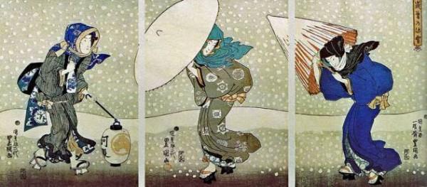 Kunisada, Neige abondante à la fin de l'année, 1843-1847