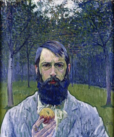 Amiet, Selbstbildnis mit Apfel, 1902-1903