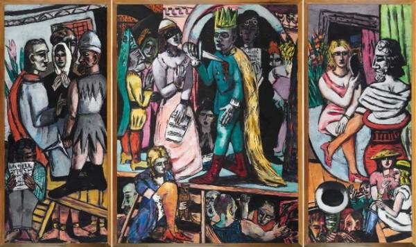 Beckmann, Schauspieler-Triptychon, 1941-1942
