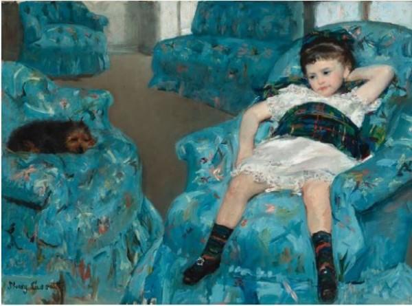 Cassatt, Petite fille dans un fauteuil bleu, 1878