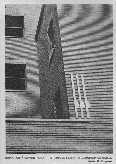 Giuseppe Pagano, Roma. Città Universitaria, Instituto di Fisica, in litoceramica gialla, 1935