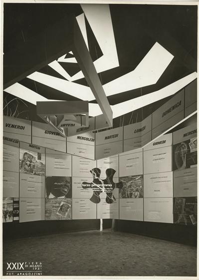 Achille e Pier Giacomo Castiglioni, RAI, Terzo programma. Stand per la XXIX Fiera di Milano, 1951 Grafica Erberto Carboni e Max Huber