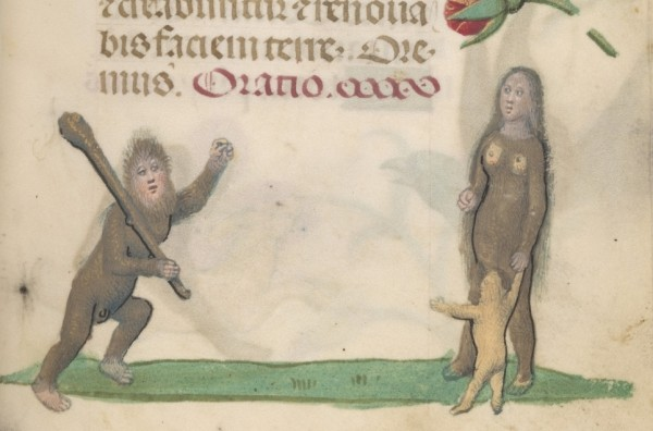 Wild man, woman, and child, from Book of Hours, Belgium (1490)