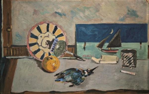 Filippo de Pisis, Natura morta col martin pescatore, 1925