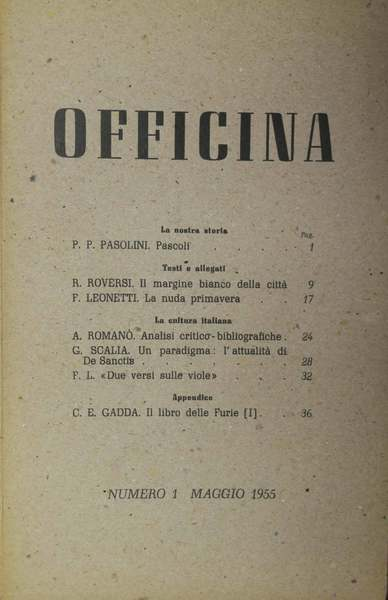 Officina, n. 1, 1955