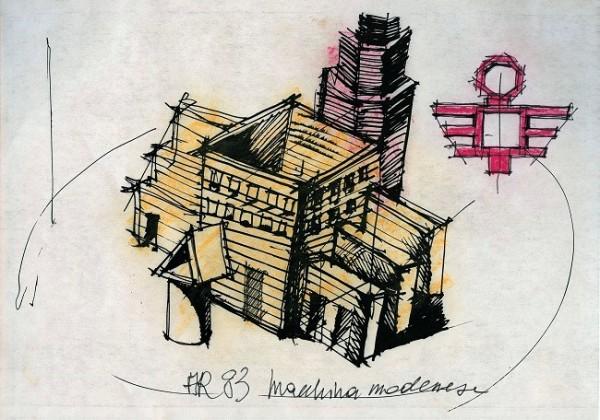 Aldo Rossi, Macchina Modenese, disegno, 1983