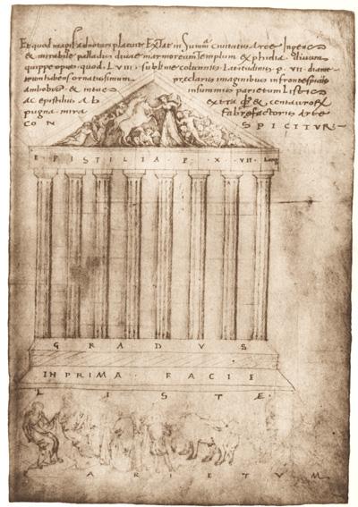 Ciriaco d'Ancona, Prospetto del Partenone, Codice Hamilton 254, fol. 85r, 1442-1443, Staatsbibliothek Berlin