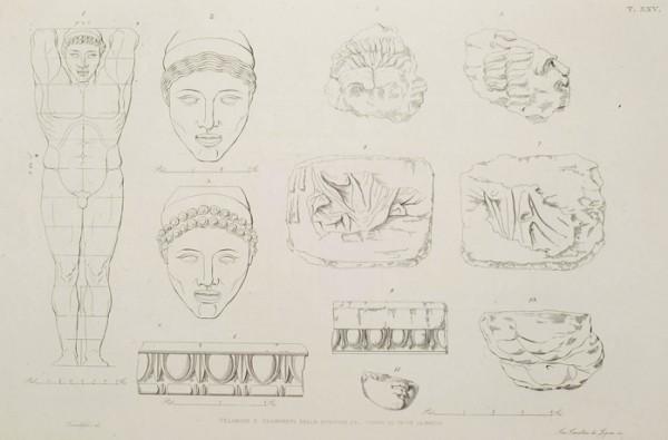 Telamone e frammenti del tempio di Ercole