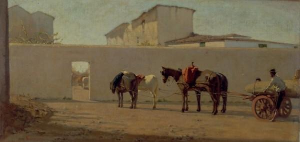 Telemaco Signorini, Un mattino di primavera. Il muro bianco, c. 1866