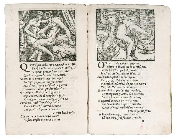 """Aretino, Sonetti lussuriosi [Sonetti sopra i XVI modi] noto come """"opuscolo Toscanini"""", """"T"""""""