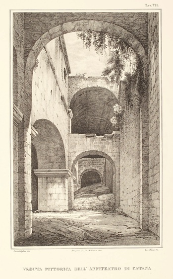 Veduta pittorica dell'anfiteatro di Catana
