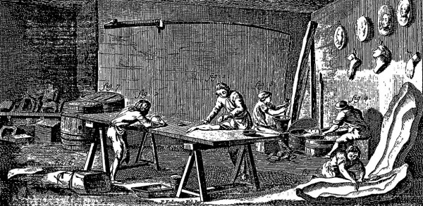 Atelier des mouleurs en plâtre, in Encyclopédie ou Dictionnaire raisonné des sciences, des arts et des métiers